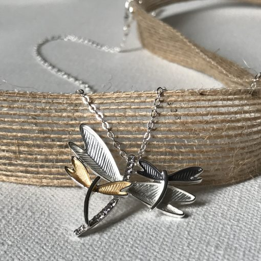 Triple Dragonfly Necklace