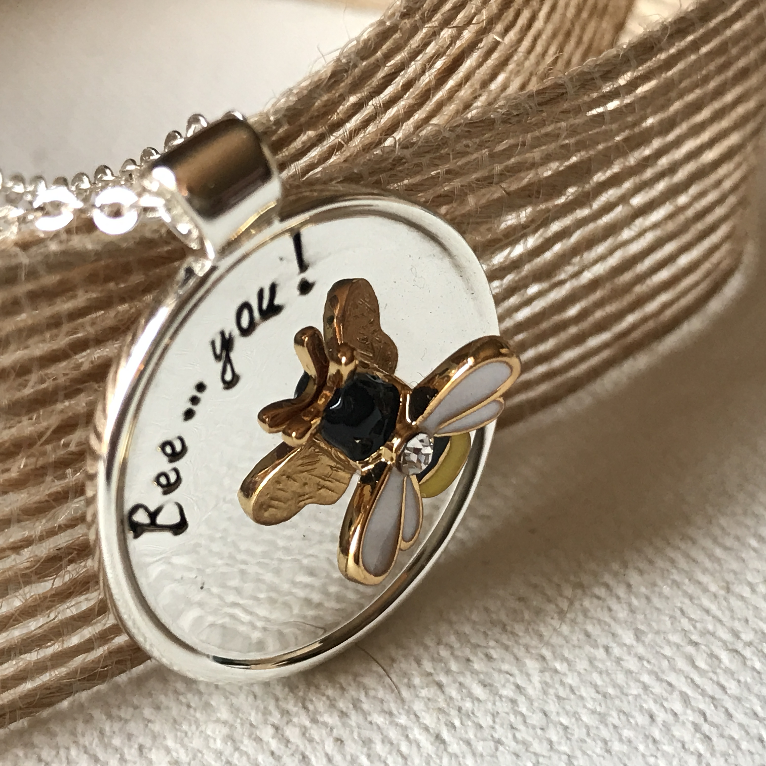 Bee tag necklace