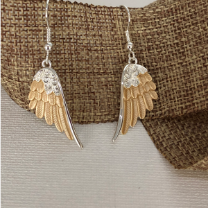 Wing Drop-Wire Earrings – Two Toned