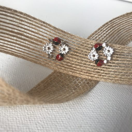 Ladybug & Daisy Wreath Earrings Carol Young Silver