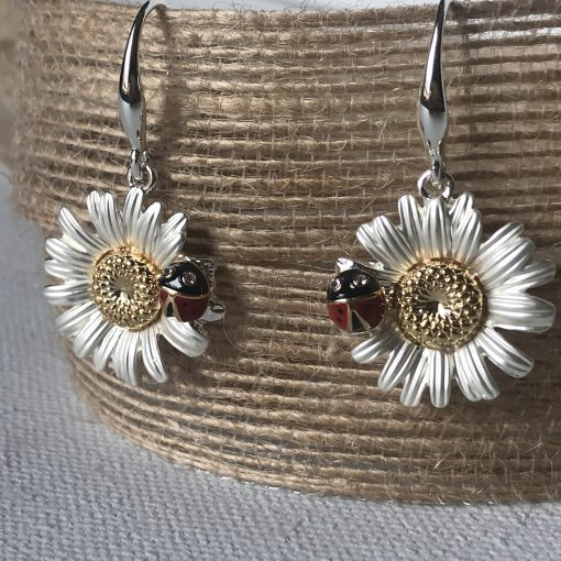 Ladybug & Daisy Drop Wire Earrings Carol Young Silver