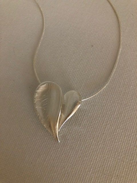Modern Love Heart Necklace - Carol Young Silver
