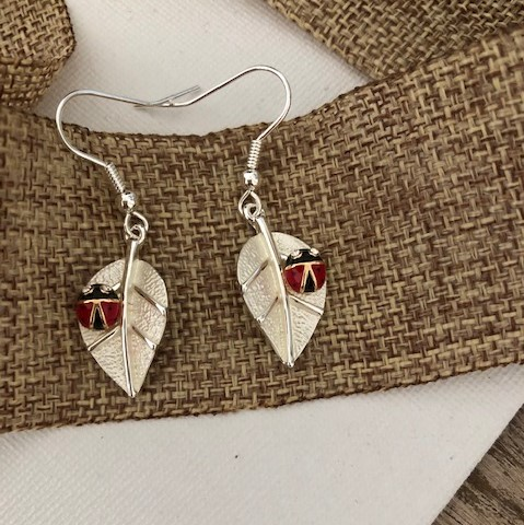 Ladybug on Leaf Wire earrings Carol Young Silver