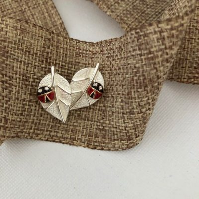Ladybug on Leaf Post earrings Carol Young Silver